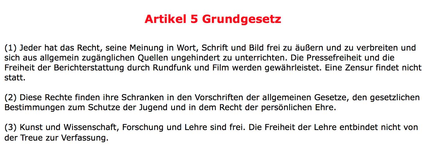 Artikel 5 Grundgesetz Meinungsfreiheit