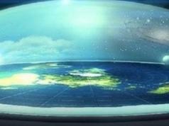 Flache Erde mit Antarktis-Eiswall, damit das Meer nicht rausläuft