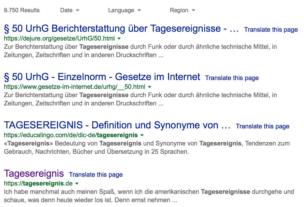 Bing Suche Tagesereignis