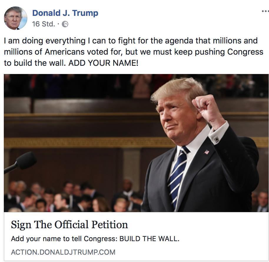 Donald Trump Petition, um die Mauer zu bauen