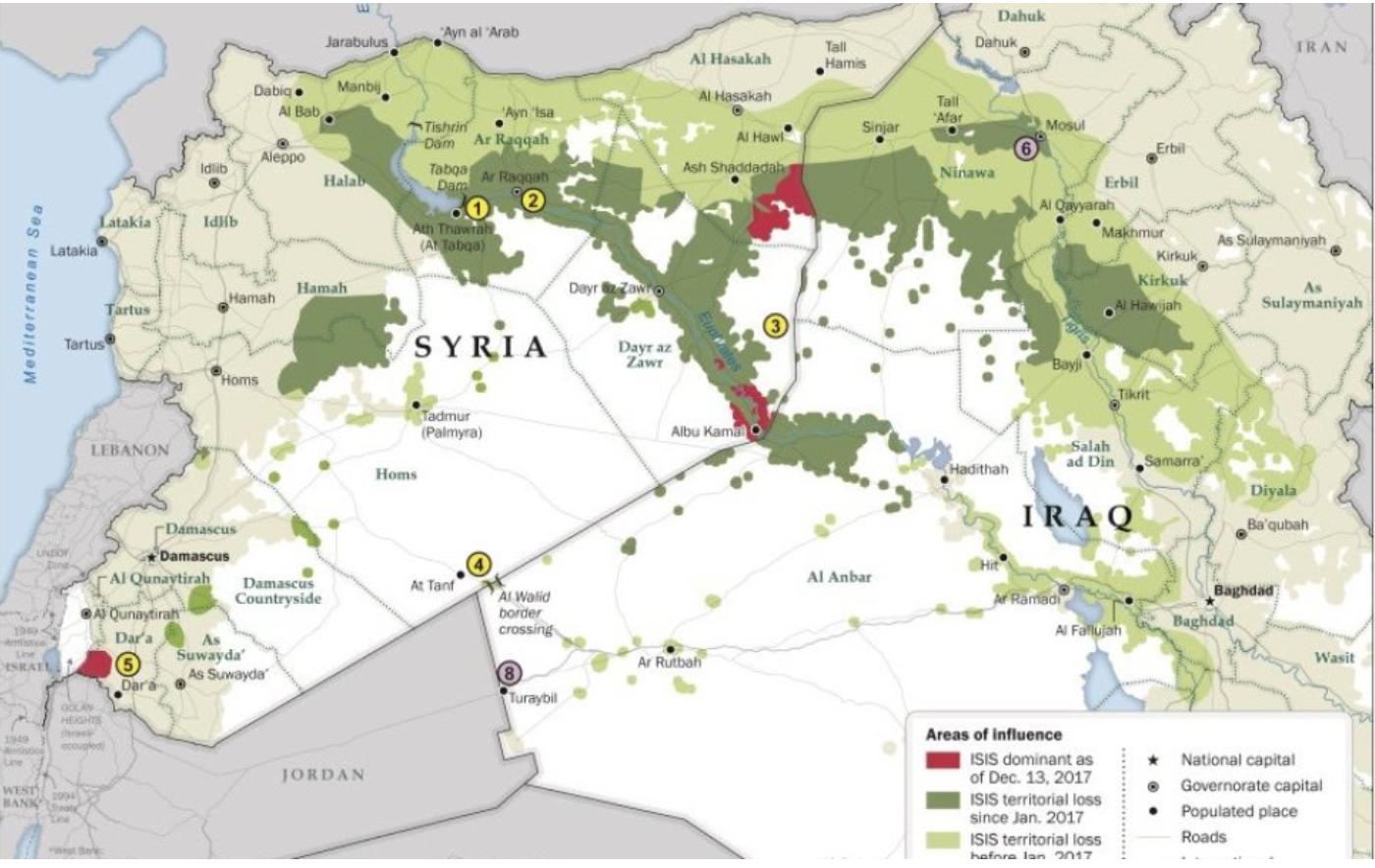ISIS Verlust Territorium seit Trumps Amtseinführung Januar 2017
