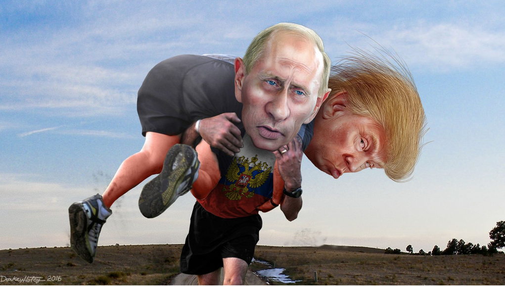 n Kumpel Bild: CC By DonkeyHotey (Vladimir Putin carrying his buddy Donald Trump) [CC BY-SA 2.0 (https:::creativecommons.org:licenses:by-sa:2.0)], via Wikimedia Commons