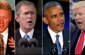 Clinton, Bush, Obama, Trump Foto YouTube Ausschnitt