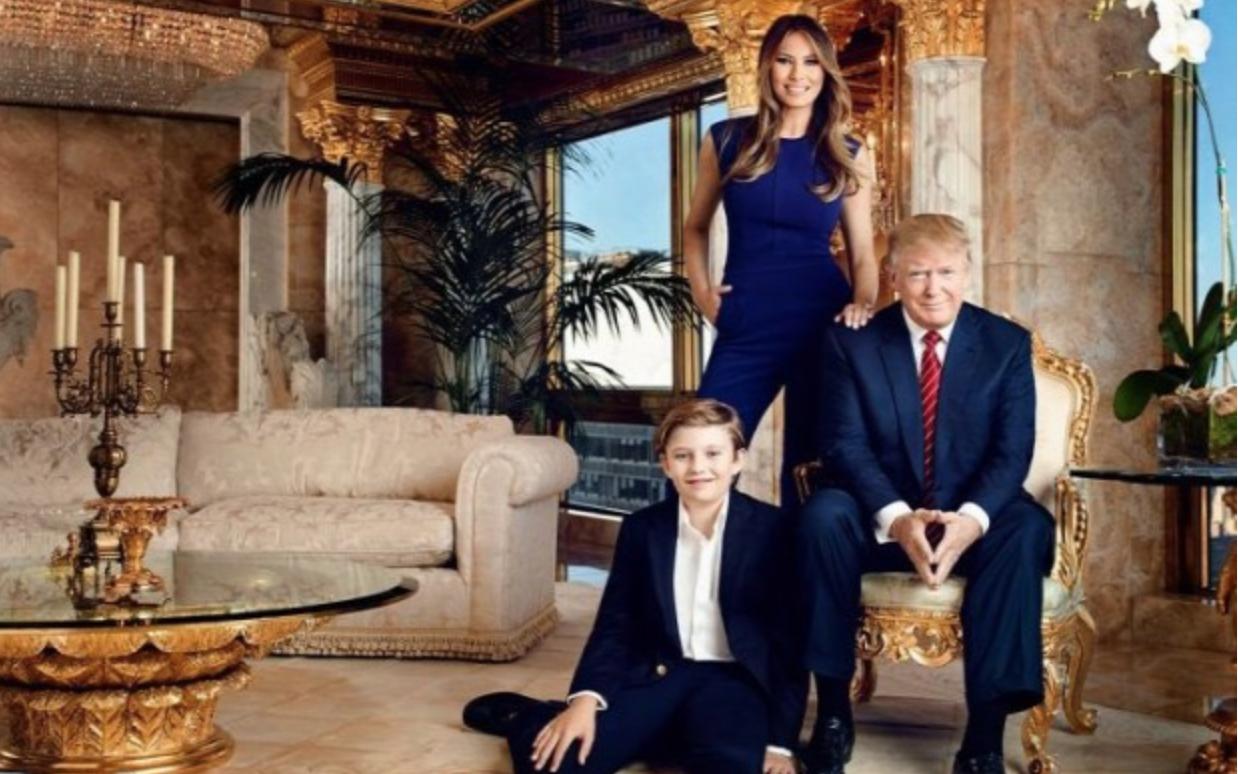 Donald Trump mit Melania und Sohn Barron im Trump Tower