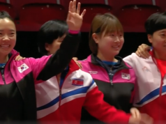 Nord- und Südkorea spielen ab Viertelfinale zusammen Tischgennis Mai 18 Foto Video
