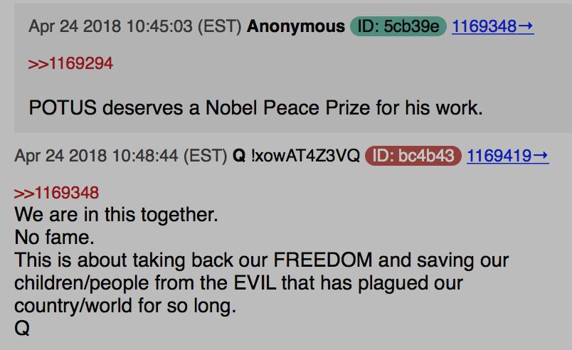 POTUS verdient den Friedensnobelpreis Foto qanon.pub