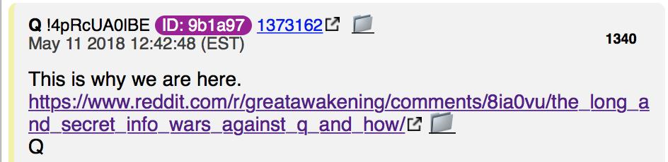 Q Anons Antwort auf Reddit Beitrag vom 10. Mai 18 Foto anon.pub