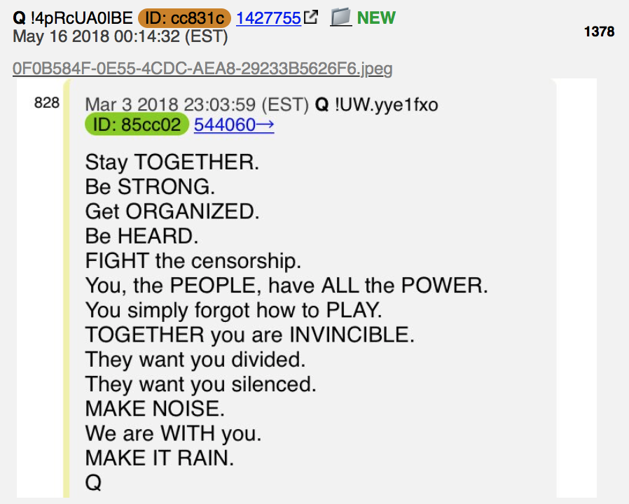 QAnon: Stay together Foto qanon.pub