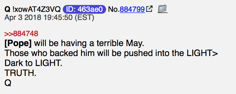 Pope will be having a terrible may Foto qanon.pub