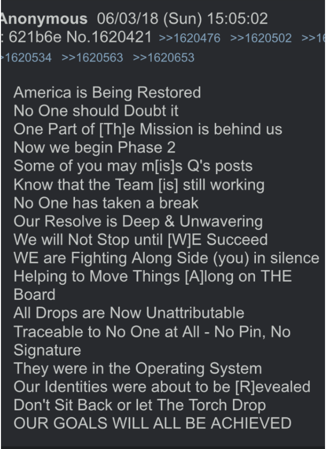 Anonymous auf 8chan am 3.6.2018 Foto qanon.pub
