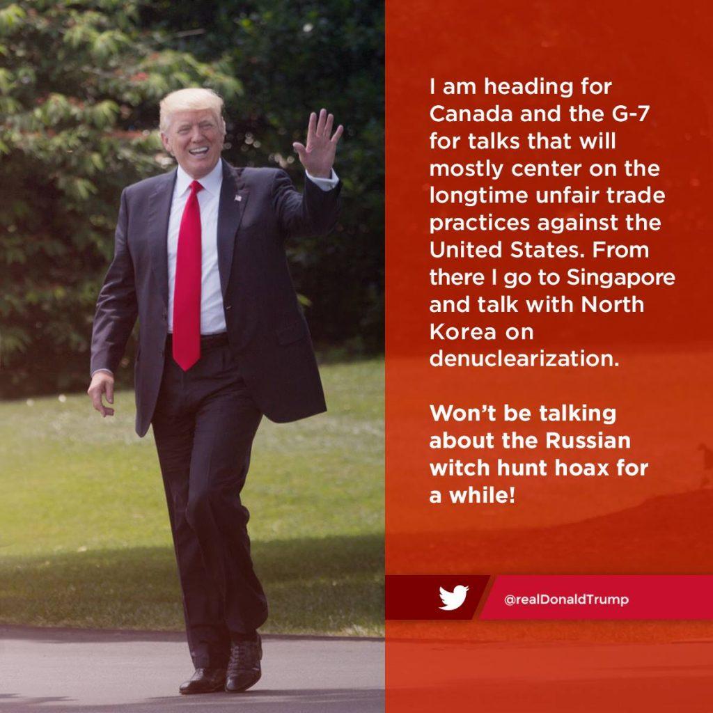 Donald Trump auf dem Weg zum G7 Gipfel Foto: offizielle Seite von Donald J. Trump Facebook