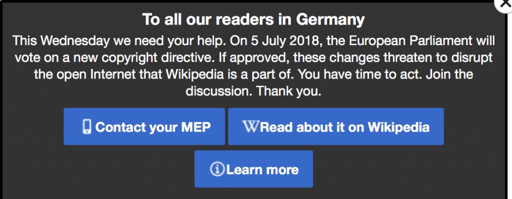 Aufruf von Wikipedia wegen Beschränkung der Informationsfreiheit Foto Wikipedia