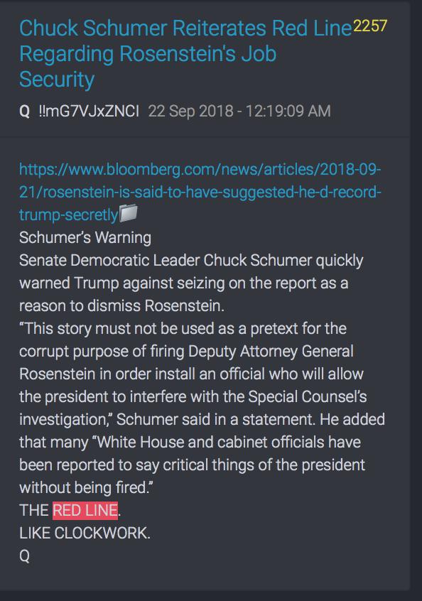 Schumer warnt davor Rosenstein zu entlassen