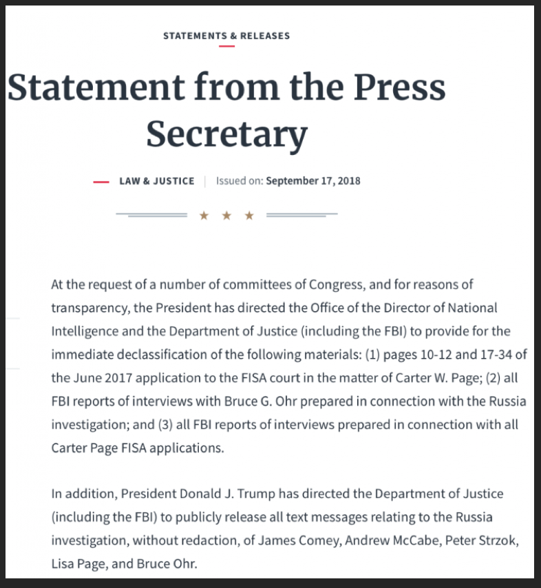 Statement der WH Pressesekretärin