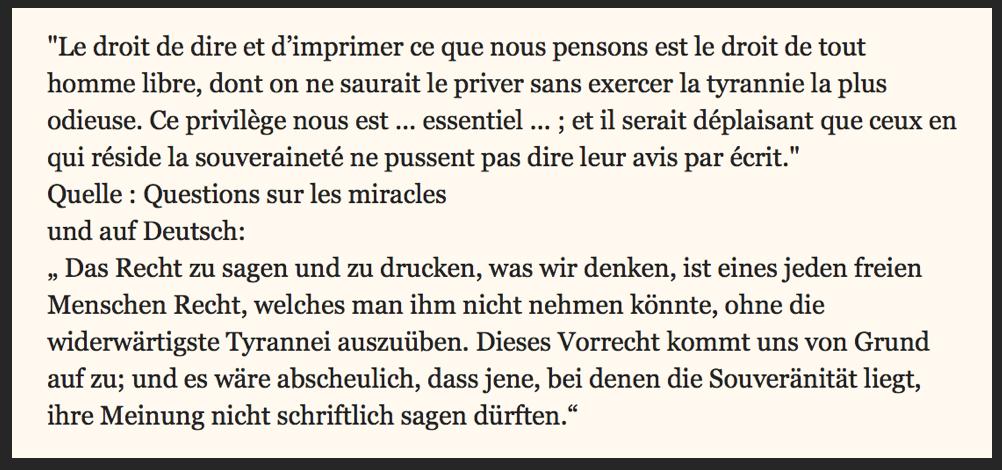 Voltaire zur Meinungsfreiheit