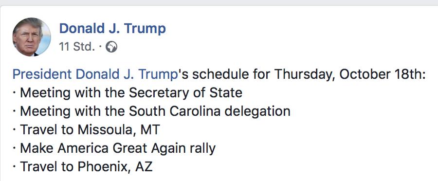 Arbeitsplan Donald Trump, 18.10.18
