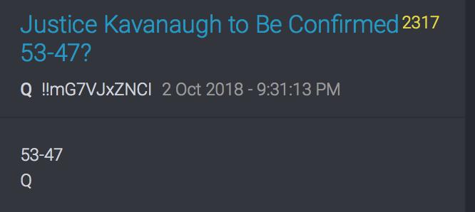 Bestätigung Kavanaughs mit 53 zu 47 Stimmen?