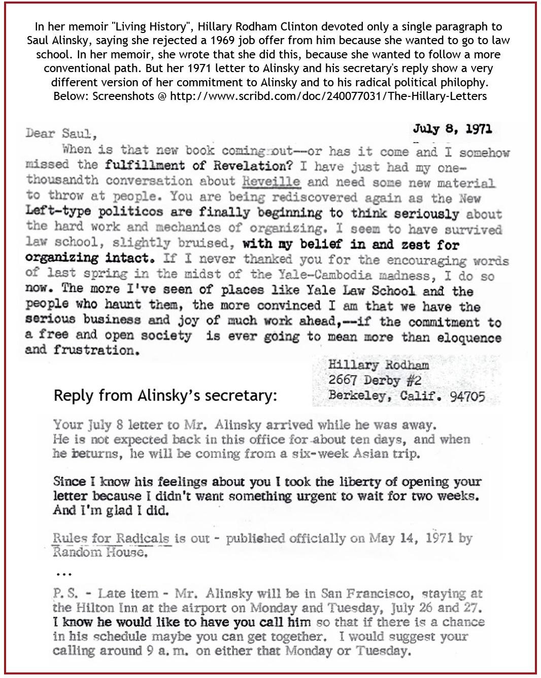 Letter to Saul Alinsky