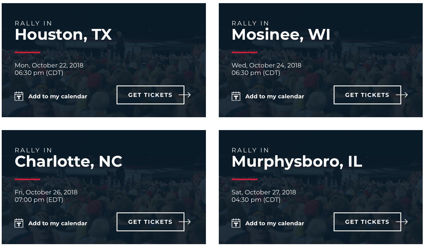 Trump Wahlkampf 22.-27. Oktober 2018
