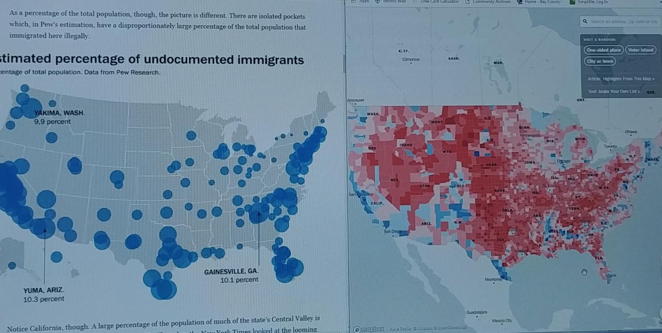 Illegale halten sich insbesondere in Gebieten auf, wo demokratisch -blau - gewählt wurde