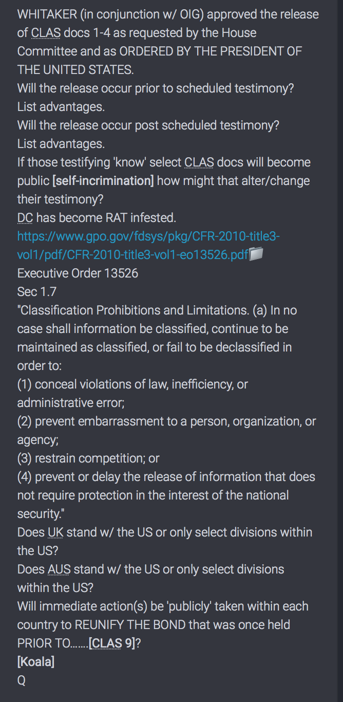 Q Drop Whitaker Declassifizierung 26.11.18