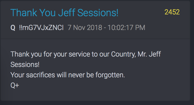 Thank you Jeff Sessions