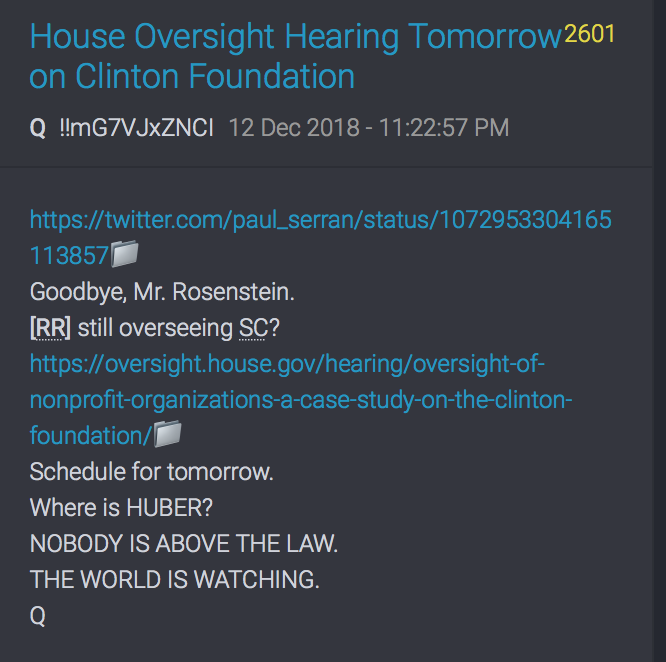 Clinton Foundation Hearing 13.12.18