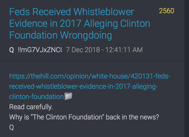 QAnon 6 Dec 2018 Clinton Foundation, The Hill