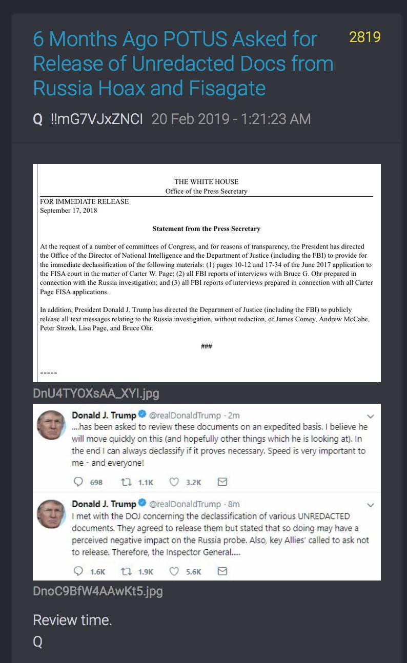 2819 QAnon Freigabe von Dokumenten re Russland FISA