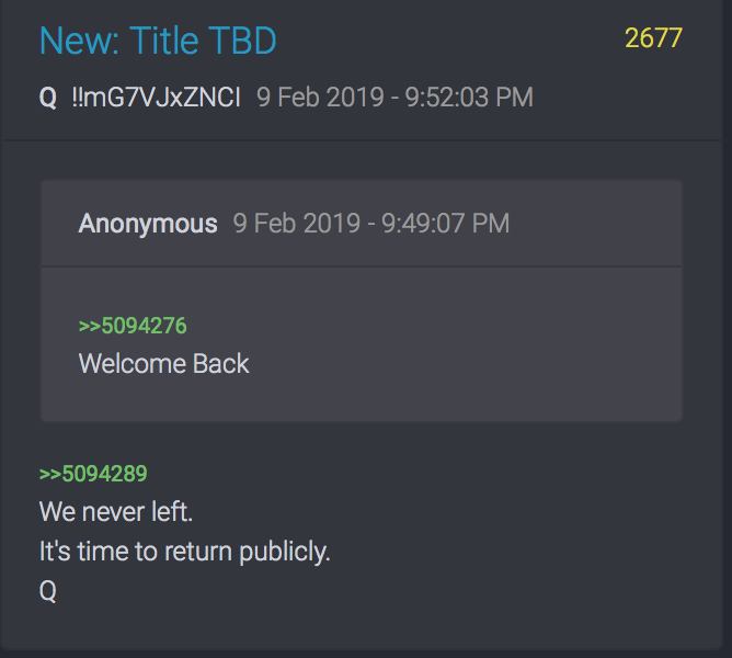 Qanon 2677 Welcome Back