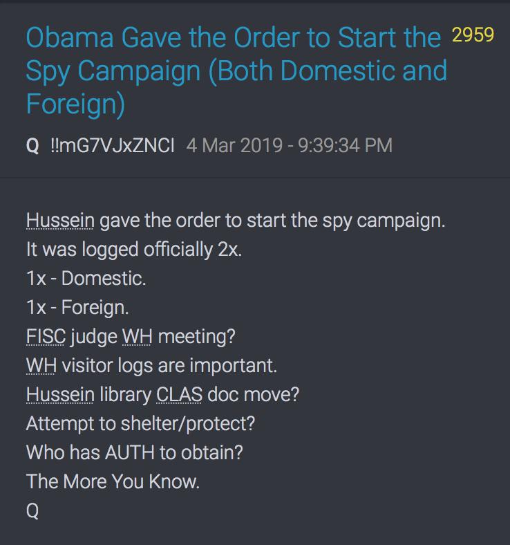 2959 QAnon Obama hat die Spionage-Kampagne befohlen