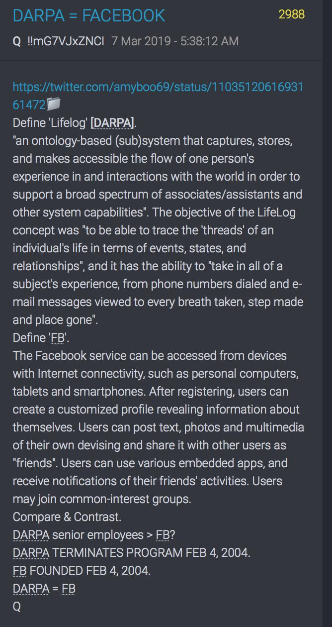 2988 QAnon DARPA = Facebook