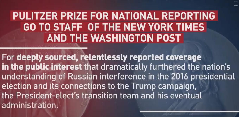 Pulitzer Preis für NYTimes und WaPo : Screen YT