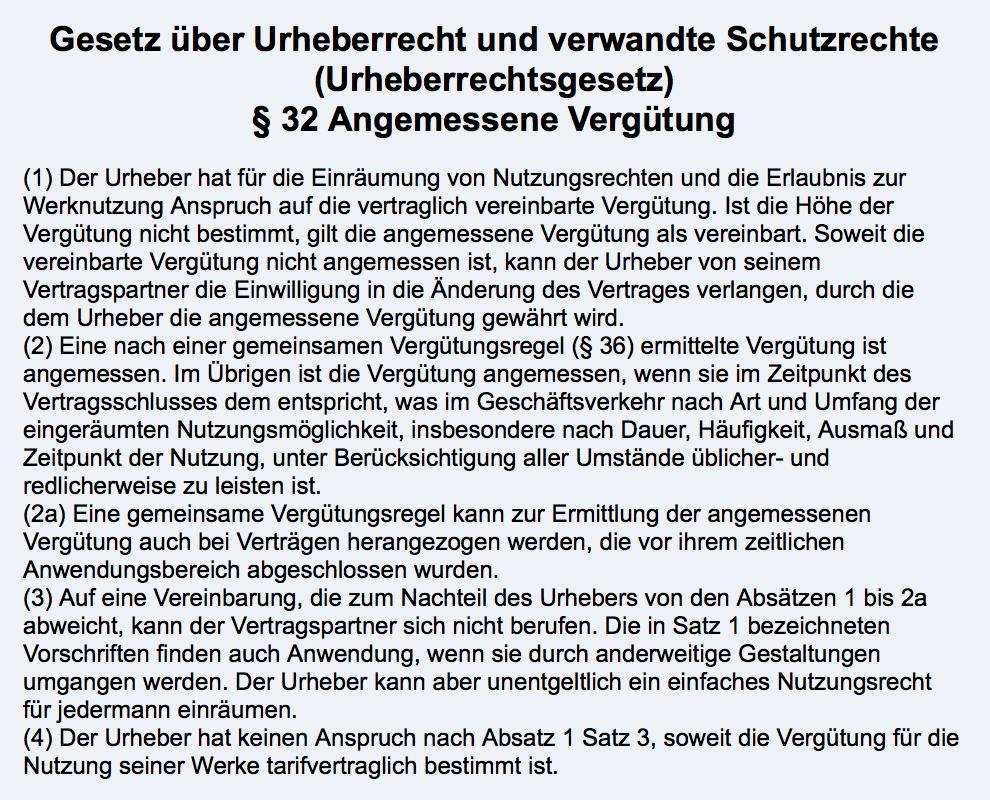 Urheberrecht §32