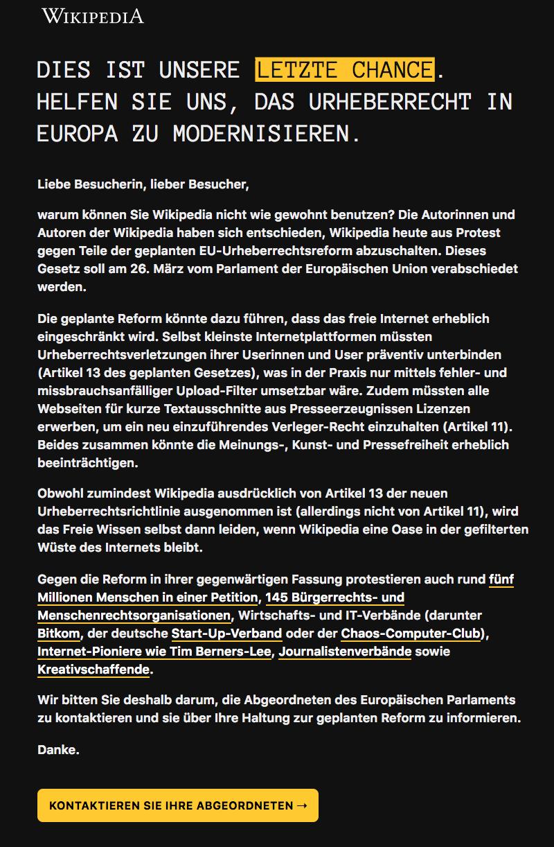 Wikipedia Aufruf Urheberrecht