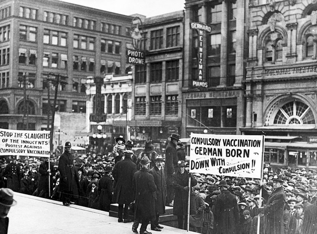 Demonstration der Impfgegner in Toronto, Kandada, am 13. November 1919