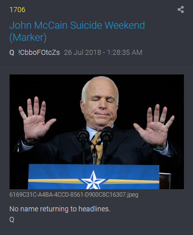 1706 QAnon Ankündigung Tod von McCain