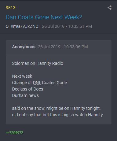 3513 QAnon Dan Coats nächste Woche weg
