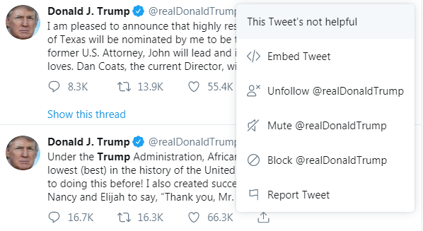 Donald Trump - This Tweet is not helpful