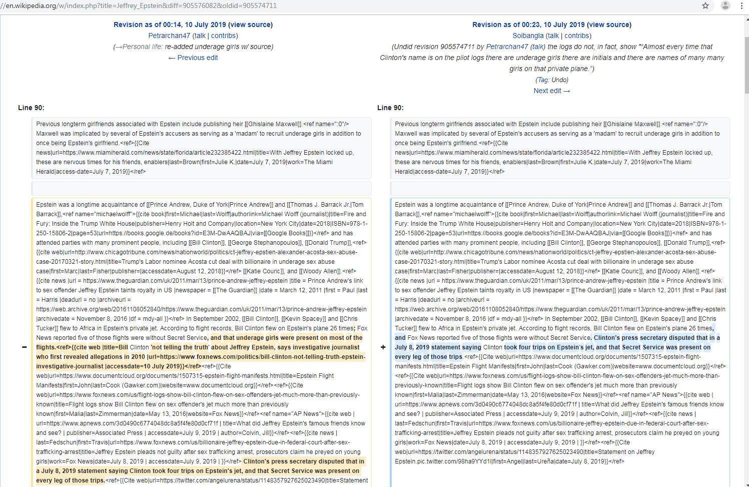 Wikipedia - Hunderte Revisionen im Juli zu Jeffrey Epstein
