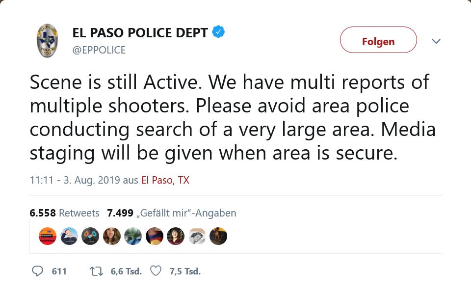 Polizei El Paslo schreibt mehrere SchützenPolizei El Paslo schreibt mehrere Schützen