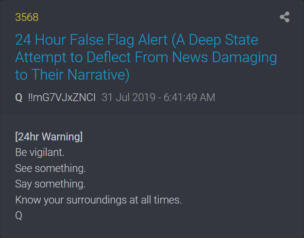 QAnon warnt 24 Stunden vorher vor False Flag Angriff