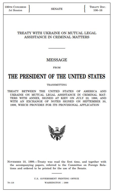 Vertrag mit der Ukraine über gegenseitige Hilfe aus 1999
